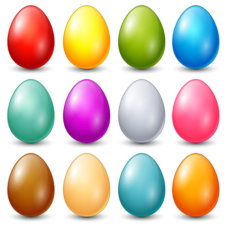 Vector illustration of Set of colorful easter eggs