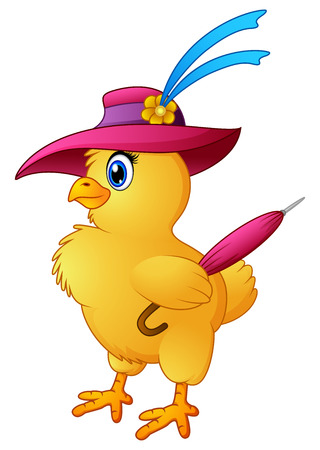 Funny cartoon chicken wearing hat with hold a umbrella