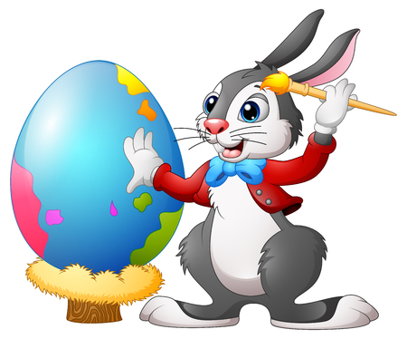 Cartoon easter bunny painting easter egg on a nest