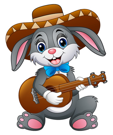 Mexican bunny playing guitar and serenading with wearing a sombrero