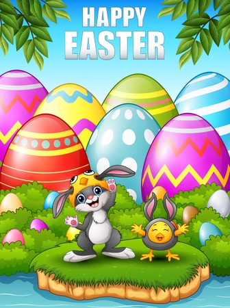 easter island: Happy rabbit and chicken cartoon wearing costumes in the woods near the river Illustration