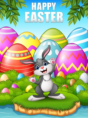 easter island: Happy rabbit cartoon in the woods near the river Illustration