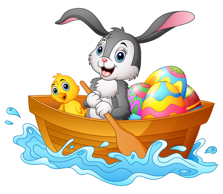 Vector l'illustrazione della barca a remi del coniglietto di pasqua con i pulcini e le uova di Pasqua decorate Vettoriali