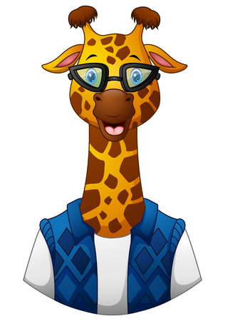 Vector illustration of Giraffe hipster in a jacket and sunglasses