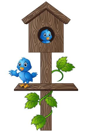Vector illustration of Cartoon blue bird in wooden mailbox