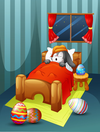 Vector illustration of Easter rabbit wearing hat sleeping in bed with easter eggs