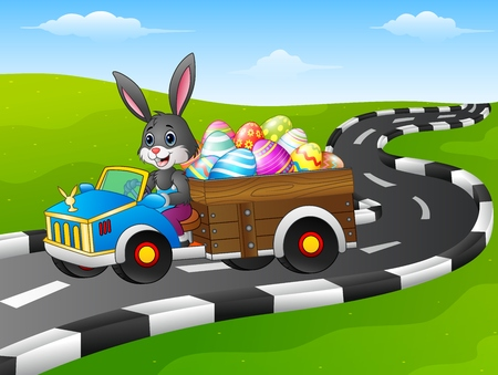 Vector illustration of Easter Bunny driving a car carrying easter eggs on road Stock Illustratie
