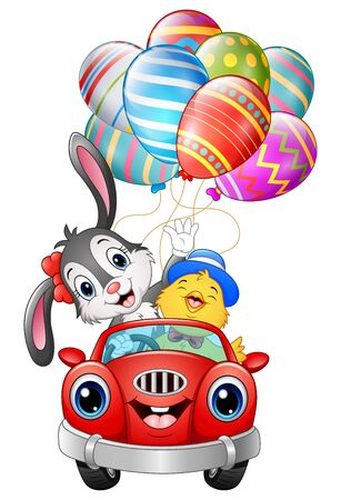 Vector illustration of Easter bunny with chicks driving a car carries easter eggs.