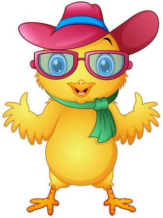 Ilustración de vector de chicas hipster con gafas y sombrero