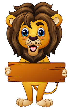 Vector illustration of Cartoon lion holding an empty wooden board
