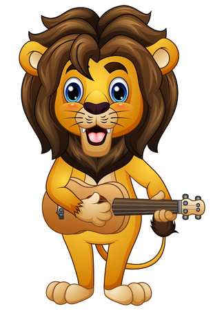 Vector illustration of Funny lion cartoon playing guitar