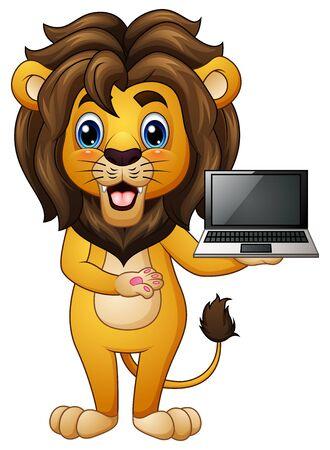 Vector illustration of Funny lion cartoon presenting a laptop Иллюстрация
