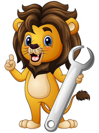 dangerous work: Vector illustration of Cartoon lion pointing with holding a wrench