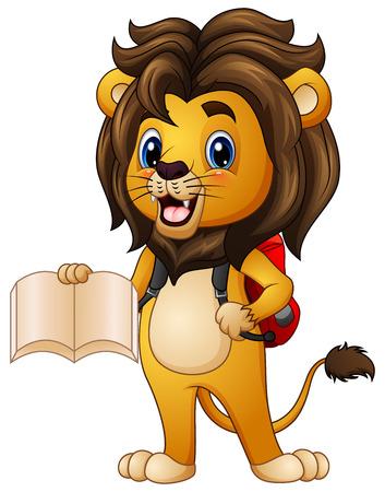 niño parado: Ilustración vectorial de León de dibujos animados con un libro con mochila