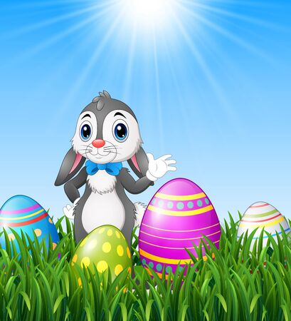 Easter bunny cartoon waving with easter eggs in the grass background