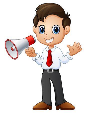 Cartoon businessman waving with holding a loudspeaker Illustration