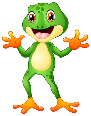 Cute frog cartoon waving both hands
