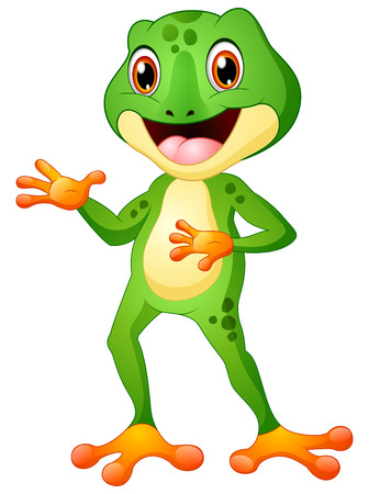 Cute frog cartoon posing