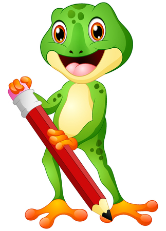 Cartoon frog holding a pencil