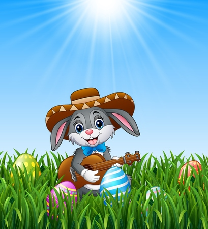 Cartoon rabbit mexican playing guitar and singing in the grass Illustration
