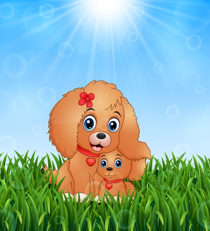 Cute little dogs cartoon in the grass on a background of bright sunshine Illustration