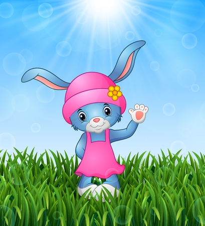 hi hat: Cute rabbit cartoon waving in the grass on a background of bright sunshine