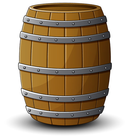 Wooden barrel on a white background
