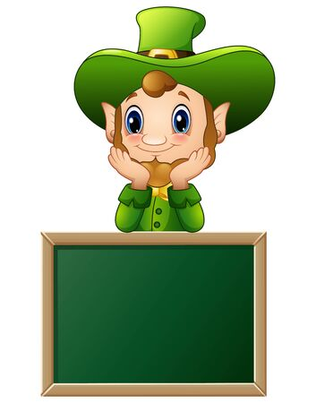 Funny Leprechaun cartoon with chalkboard sign