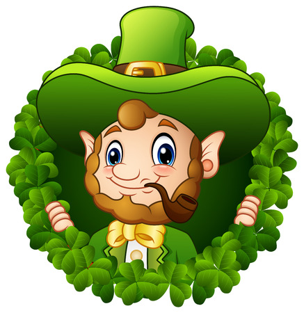 Cartoon Leprechaun in a round circle with a smoking pipe