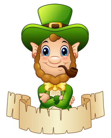 Cartoon Leprechaun with a smoking pipe and a scroll