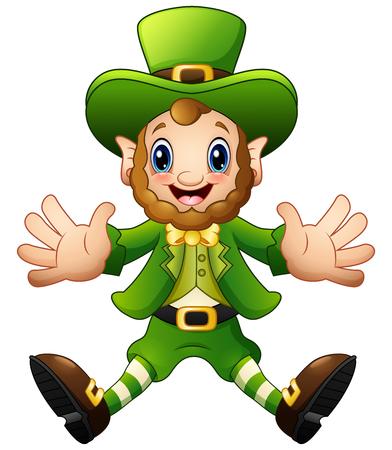 st  patrick's day: Cartoon Leprechaun jumping