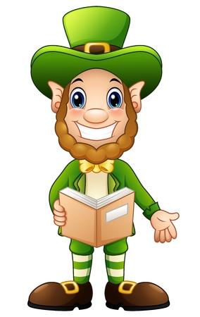 Cartoon Leprechaun opened book