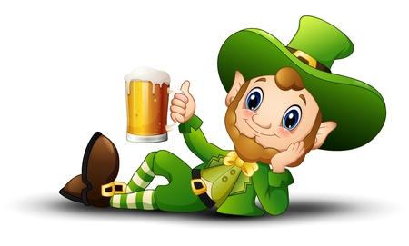 Cartoon Leprechaun holding a mug beer