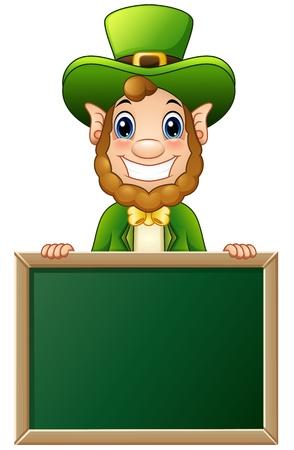 Cartoon Leprechaun holding chalkboard sign