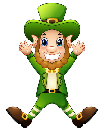 Cartoon leprechaun joyful jumping