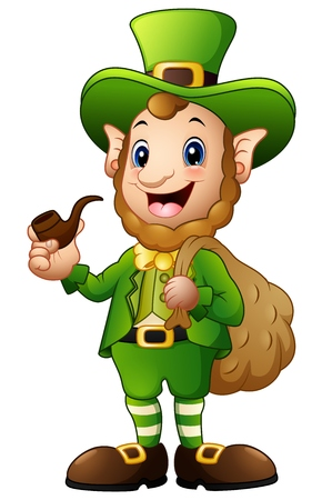 Cartoon Leprechaun carrying sack of gold with holding a smoking pipe