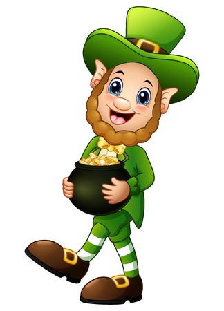 Cartoon Leprechaun holding a pot of gold Illustration