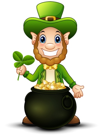 Cartoon Leprechaun with pot of gold and holding clover leaf