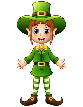 women s hat: Cartoon girl leprechaun presenting