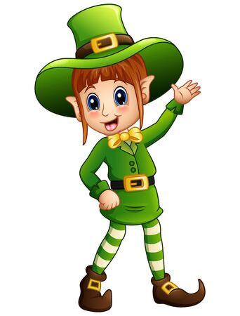 women s hat: Cartoon girl leprechaun waving