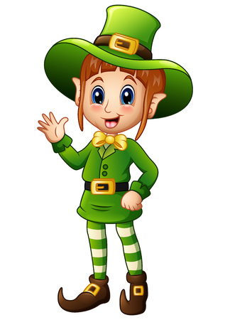 women s hat: Cartoon girl leprechaun waving hand