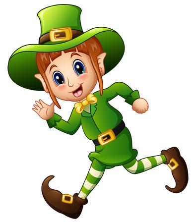 Cute cartoon girl Leprechaun running