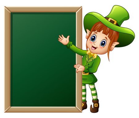 women s hat: Cartoon girl leprechaun presenting with chalkboard sign