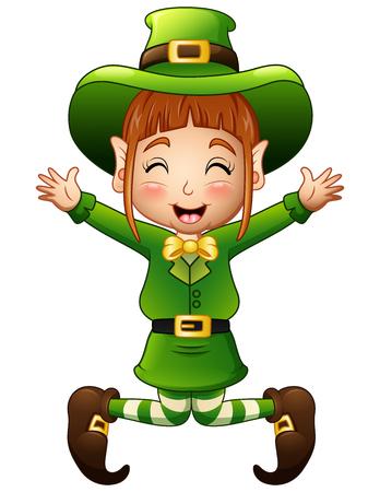 Cute girl leprechaun cartoon jumping
