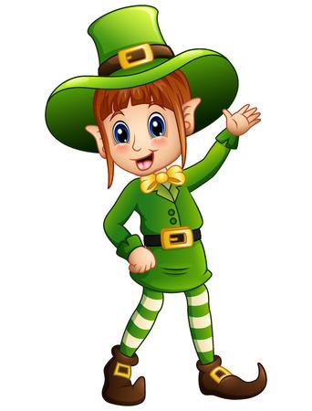 Cartoon girl leprechaun waving