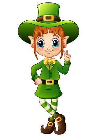 Cartoon girl leprechaun peace hand gesture