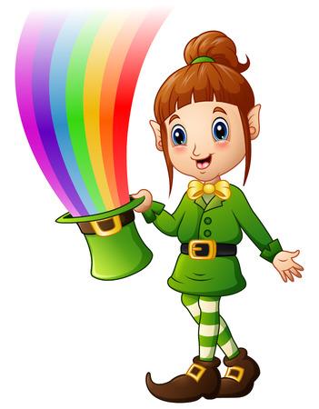 irish woman: Cartoon girl Leprechaun holding hat with magic rainbow