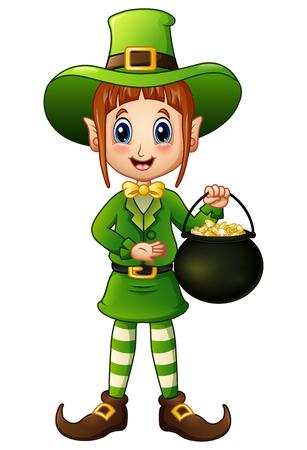 Cartoon girl leprechaun holding a pot of gold