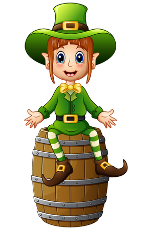 women s hat: Cartoon girl leprechaun waving with sitting on barrel