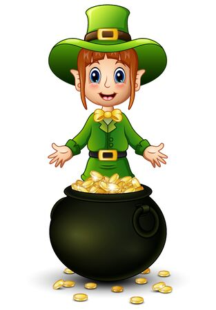 Cartoon girl leprechaun presenting with a pot of gold coins